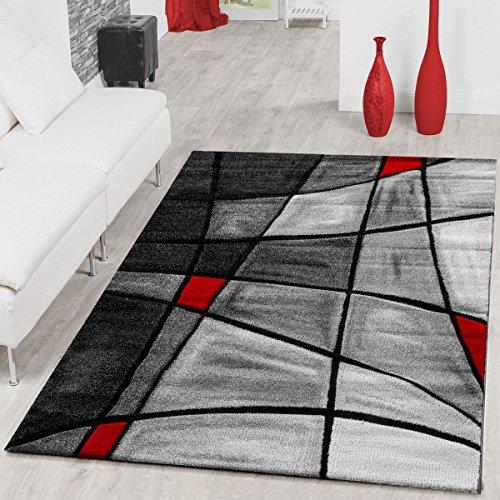 T&T Design Teppiche Wohnzimmer Teppich Porto Konturenschnitt in Grau Rot Schwarz Ausverkauf, Größe:200x290 cm