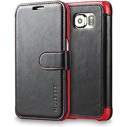 Mulbess Coque Samsung Galaxy S6 Edge, Étui Coque en Cuir pour Samsung S6 Edge Housse Pochette Portefeuille avec Layered Style Black