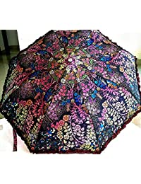 Parachute Printed With Frills, 3 Fold Fancy Automatic Umbrella For Rains, Summer & All Year Use