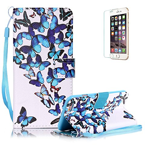 Custodia iphone 6 iphone 6S in Pelle,Funyye Farfalla Blu Disegni Elegante Libro Portafoglio Cover e Pellicola Protettiva Copertura [CordinoiphoneSupporto StandiphonePorta CarteiphoneChiusura Magnetica] Protettivo Caso Shell Skin Bumper Per Apple iphone 6/6s Flip Wallet Leather Case With Hand Strap Lanyard Screen