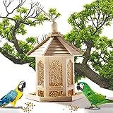 Voberry Mangiatoia per Uccelli in Legno Naturale, A Forma di esagono, Decorazione Sospesa Mangiatoia Lanterna per Garden Yard 24x20cm capacità del Seme 1000 ml