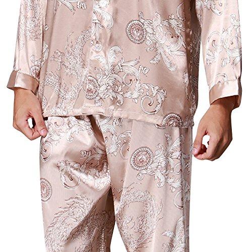 Dolamen Herren Schlafanzug, Satin Retro Druck Lang Zweiteiliger Pyjamas Frühling Sommer, Herren Schlafanzug mit Überprüfen Sie geknöpftes Hemd Kragen mit Tasche L XL XXL Gold