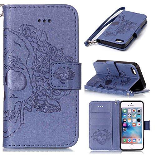 Cozy Hut iPhone 5 / 5S / SE Hülle, iPhone 5 / 5S / SE Case, iPhone 5 / 5S / SE (4,0 Zoll) Drucken(Rosen-Schädel) PU Ledercase Tasche Hüllen Schutzhülle Scratch Magnetverschluss Telefon-Kast