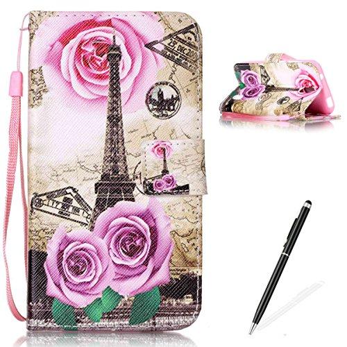 Feeltech Hülle für Huawei Y625 Weich Magnet PU Brieftasche Elegant Kartenfach Extra Dünn Schutzhülle Bunte ReLife MusterKarte Halterung Klapp Ledertasche - Rose Blume Turm