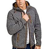 Xmiral Herren Pullover Mantel Herbst Winter Casual Reißverschluss Langarm Hooded Sweatshirt (XL,Grau)