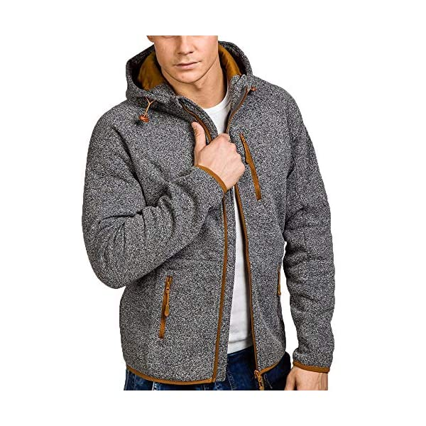 DOLDOA Mens Jacket Autumn Winter Casual Zipper Long Sleeve Fashion Pullover Sweatshirt Hoodie Coat TopsM 2XL