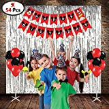 PARTY PROPZ MICKEY MOUSE COMBO INCLUDED 1 HAPPY BIRTHDAY BANNER, 10 PCS CAP, 3 PCS RED FOIL CURTAIN, 25 PCS RED & BLACK LATEX BALLOON, 1 SET PHOTOBOOTH/ MICKEY MOUSE PARTY SUPPLIES/ MICKEY MOUSE PARTY DECORATION