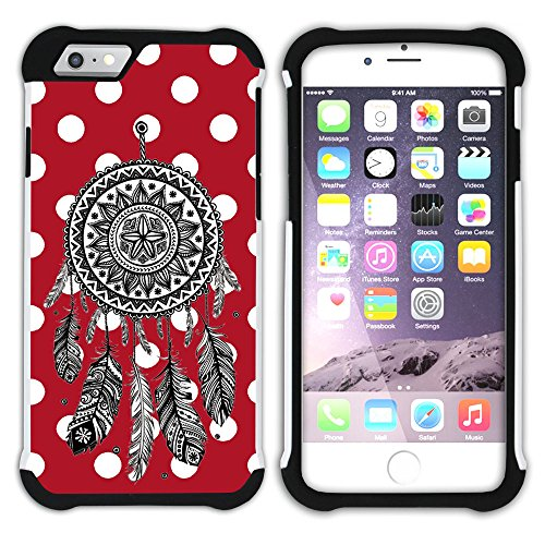 Graphic4You Traumfänger Punktmuster Tupfen Muster (Gelb) Hart + Weiche Kratzfeste Hülle Case Schale Tasche Schutzhülle für Apple iPhone 6 Plus / 6S Plus Rot