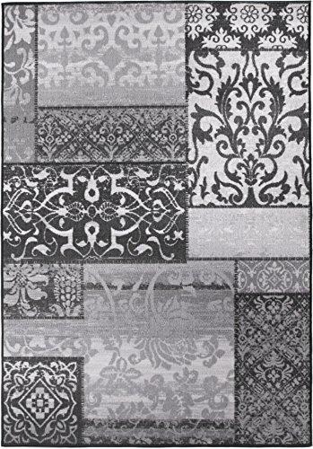 Kurzflorteppich Teppichläufer Orientteppich Vintage Patchwork Orientalisches Muster Used Look- Wohnzimmerteppich Schlafzimmer Flurläufer - Oeko Tex 100 pflegeleicht umkettelt - 133cm x 190cm grau