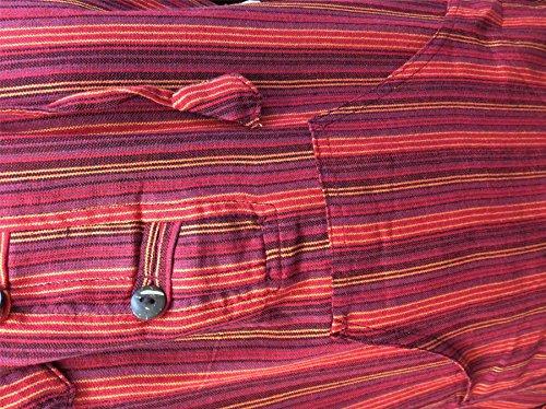 Shopoholic Fashion Mehrfarbig dharke Streifen Opa Kapuzenpulli Hemd, leicht Kastanienbraun Mix