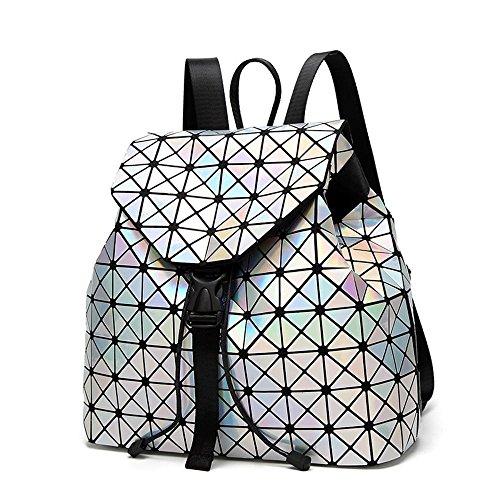Preisvergleich Produktbild Wmshpeds Weibliche Tasche geometrische rhombische Zauberwürfel Tasche leuchtende Klapp Student Rucksack PVC Reise Umhängetasche