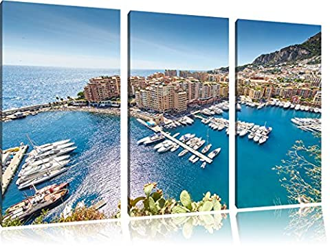Stunning coast of Monaco 3-piece canvas picture 120x80 image on canvas, XXL huge Pictures completely framed with stretcher, art print on mural frame gänstiger as painting or an oil painting, not a poster or