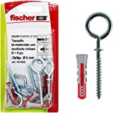 Fischer 537632 pluggen met gesloten ooghaken, duopower, grijs en rood, 6 x 30 mm, 6 stuks per verpakking