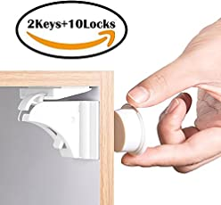 Child Safety Cupboard Locks - Leegoal 10 Locks + 2 Keys Baby Safety Magnetic Cabinet Lock Set for Home Kitchen Drawers