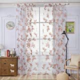 URIJK Cortina Transparente fioreale, Panel Rosa Flor para Ventana salón Dormitorio decoración casa Pared 100x 200cm