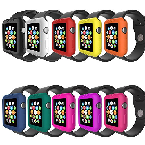 For Apple Watch Series 3 2 1 Cover Case Protector Case Armor 38mm/42mm For Apple Watch iWatch Series 3 2 1 38/42mm Color Silicone Rubber Case Cover