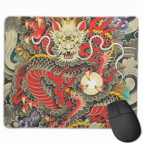 Red Chinese Dragon Dragon Ball Artwork Personalized Design Mouse Pad Gaming Mouse Pad mit vernähten Kanten Mauspad, rutschfeste Gummiunterseite, 24,8 x 30,5 cm, 3 mm dick - Best Gift Idea