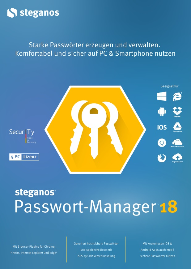 Steganos Passwort-Manager 18 - Starke Passwörter erzeugen und verwalten, für Windows 10, 8 oder 7, Android und iOS [Download]
