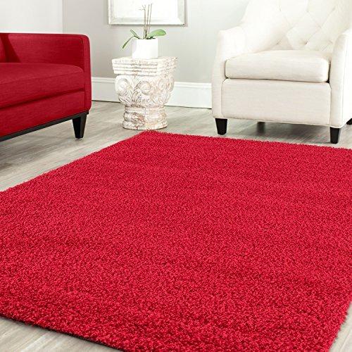 Teppich-home stella shaggy tappeto colore pelo lungo tappeti moderni per soggiorno camera letto tinta unita rosso, 160x220 cm