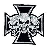 Aufnäher Bügelbild Aufbügler Iron on Patches Applikation Totenkopf Skull Tattoo Biker Kreuz Chopper eisernes
