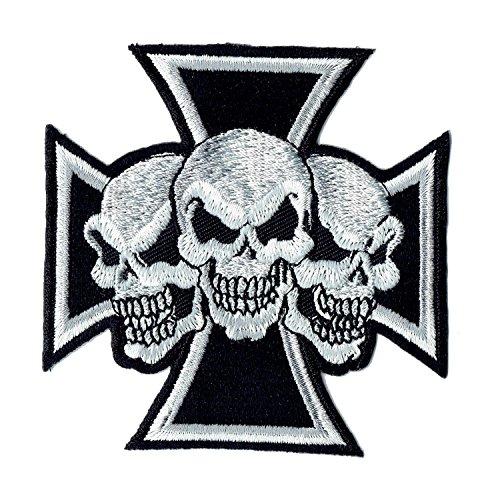 Lucky Patches, Aufnäher, Applikation, Aufbügler, Iron on Patch - Live Free Ride Free, Pirate, Skullhead, Totenkopf, Biker, Motorrad - 8,5 x 8,5 cm