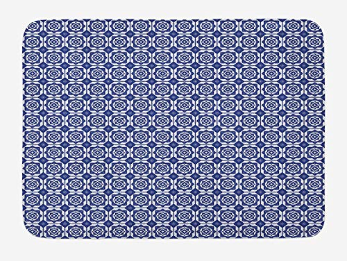 JIEKEIO Dutch Bath Mat, Delft Style Geometric Pattern with Rhombuses and Hexagons Holland Design, Plush Bathroom Decor Mat with Non Slip Backing, 23.6 W X 15.7 W Inches, Navy Blue and White Delft Diamond