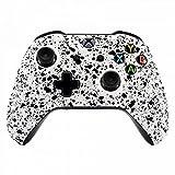 eXtremeRate® Plaque Drontale Housse Coque 3D éclaboussures Avant Shell Remplacement Kit pour Xbox One S et Xbox One X Manette - Texturé Blanc