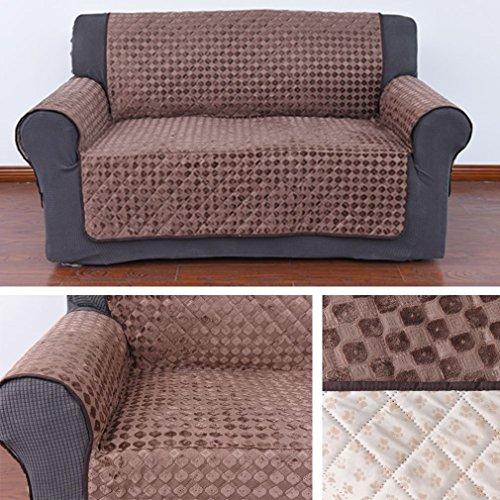 Wohl-H Rutschfest 2 Sitzer 171x116.5 cm Sesselschoner in kaffeebraun, Rückseite mit Silikagel in Fuß-Muster, Sesselüberwurf aus 100g Vakuum - Baumwolle besonders für Haustier, Baby Familie