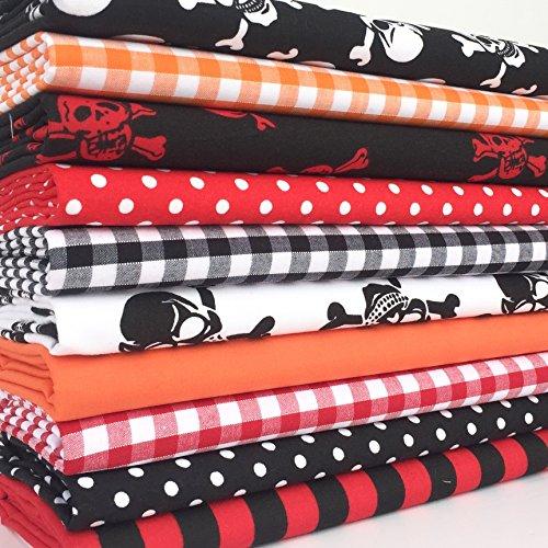 Always Knitting and Sewing Immer Stricken & Nähen–10Stück, Fat Quarter Bundle, Polycotton Stoff, Halloween themed Bundle (Halloween Stoff Quilten)