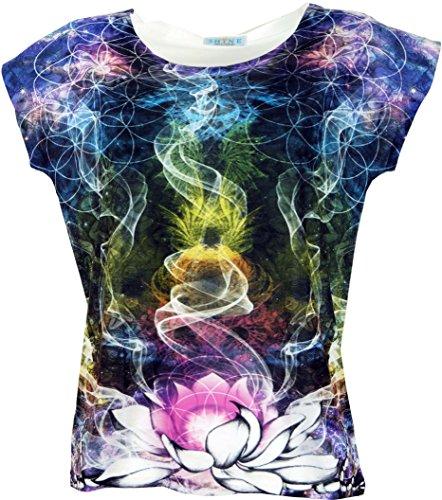 Guru-Shop Psytrance T-Shirt, Yoga T-Shirt, Retro T-Shirt, Damen, Lotus, Synthetisch, Size:38, Tops, T-Shirts, Shirts Alternative Bekleidung