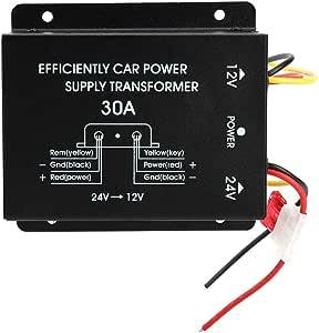 Gorgeri 24V zu 12V Auto Transformator Effizienz Stromversorgungs Konverter Abw/ärtsinverter der Aluminiumlegierungs 30A