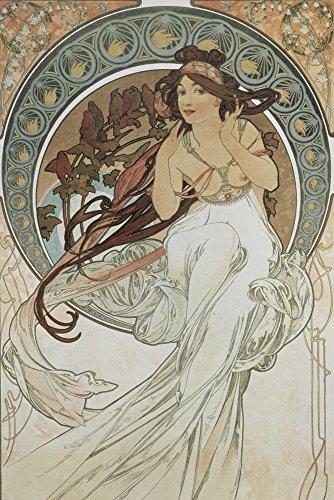 Artland Alte Meister Premium Wandbild Alfons Mucha Bilder Poster 90 x 60 cm Vier Künste: Die Musik Kunstdruck Wandposter Jugendstil R0JB