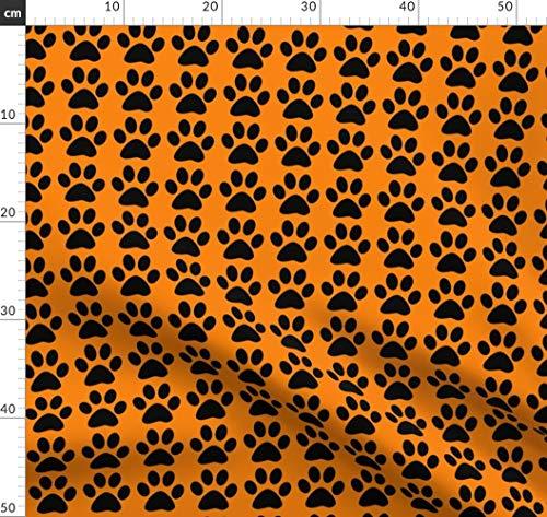 Schwarze Und Tanzkostüm Orange - Orange, Schwarz, Pfotenabdruck, Hund Stoffe - Individuell Bedruckt von Spoonflower - Design von Dogdaze Gedruckt auf Sport Lycra