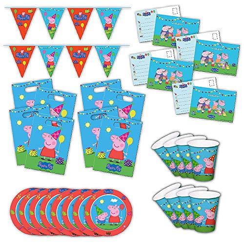 Folat Peppa Wutz 2 Partybox original Kindergeburtstag 34-teilig Deko Peppa Pig Partypaket