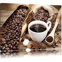 kein Poster oder Plakat Pixxprint GmbH XXL riesige Bilder fertig gerahmt mit Keilrahmen günstiger als Gemälde oder Ölbild Kunstdruck auf Wandbild mit Rahmen Kaffee Coffee Herz aus Schaum Cappucino Format: 60x40 cm auf Leinwand