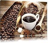 Edler Kaffee und Kaffebohnen Format: 60x40 auf Leinwand, XXL riesige Bilder fertig gerahmt mit Keilrahmen, Kunstdruck auf Wandbild mit Rahmen, günstiger als Gemälde oder Ölbild, kein Poster oder Plakat
