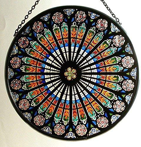Dekorativer handbemalter Glasmalerei-Sonnenfänger in a Straßburg 'Rosace' Design -