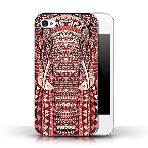 Hülle für Apple iPhone 4/4S / Wolf-Grün / Aztec Tier Muster Kollektion Elefant-Rot