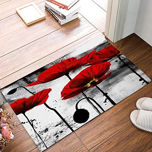 Eingang benutzerdefinierte Fußmatte Vintage Mohn Blume Tinte Malerei Kunst Maschine waschbar Teppich rutschfeste Matten Badezimmer Küche Dekor Bereich Teppich (Mohn Küche Dekor)