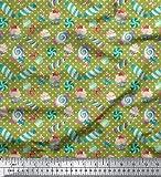 Soimoi Grun Baumwoll-Voile Stoff Herz & Süßigkeiten Kinder Stoff Drucke Meter 42 Zoll breit