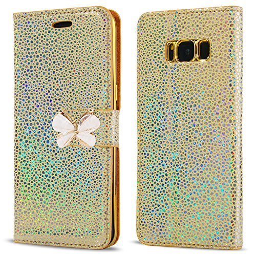 LCHULLE Samsung Galaxy J3 (2015/2016) Hülle, Pearl Spots Bling Glitter 3D Schmetterling PU Leder Flip Case mit Stand Brieftasche Magnetverschluss TPU Back Stoßdämpfer Buch Cover-Gold Pearl Flip Case