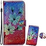 Bookstyle Bling Hülle für Huawei P30 Lite,Glitter Glitzer Diamond Musterg Slim Klassisch Modisch Magnet Leder Stand Funktion Kartenfach Flip Wallet -