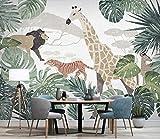 (200X140CM), Alte Zeitung 3D tapete - Nordic tropische Pflanze Tier Giraffe - Wallpaper Poster Wanddekoration von Bestwind