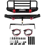 RC Car Bumper, Metal Front/Rear Bumper with LED Lights for Traxxax Trx-4 for SCX10II 90046 1/10 RC Car Accessory Parts