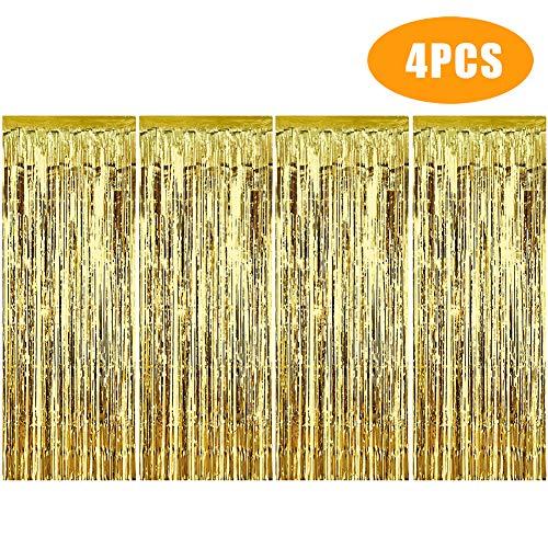 metta Vorhänge/Folie Vorhang/Metallic Tinsel Vorhänge/Hintergrund Fringe Vorhänge für Geburtstag Hochzeit, DIY Photo Booth Dekorationen, (Gold) ()