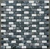 Naturstein Matte Mosaik 30x30 Schwarz Weiss Bordüre Fliesen Stäbchen Marmor