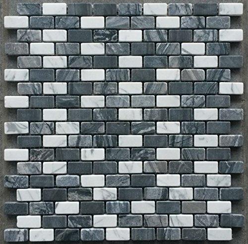 Naturstein Matte Mosaik 30x30 Schwarz Weiss Bordüre Fliesen Stäbchen Marmor M617 - Marmor-matte