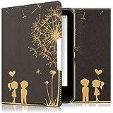 kwmobile Hülle für Tolino Vision 1 / 2 / 3 / 4 HD - Flipcover Case eReader Schutzhülle - Bookstyle Klapphülle Pusteblume Love Design Gold Schwarz