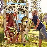 Giochi di Lancio del Cowboy Del Partito Occidentale con 3 Sacchi di Fagioli, Divertente Gioco Occidentale per Bambini e Adulti Nelle Attività a Tema Occidentale Decorazioni del Cowboy Occidentale