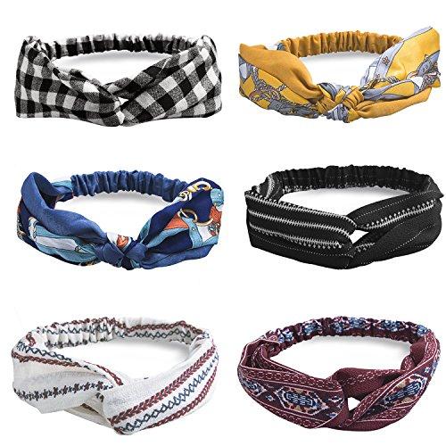 HBselect 4-10er Vintage Stirnband Haarband Headband Kopf Warp aus Stoff oder Satin mit Knot koreanisches Haarband für Damen (6-er)